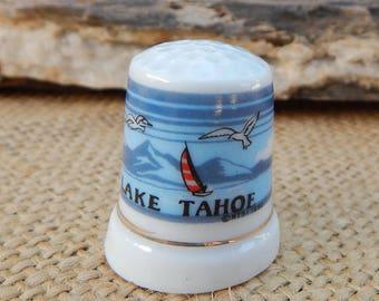 Lake Tahoe Porcelain Thimble  ~  Lake Tahoe Thimble