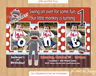 Sock Monkey 1st birthday invitation sock monkey invitation sock monkey birthday invitation sockmonkey Boy 1st birthday invitations photo pic