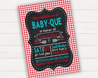 Baby Shower Invitation BabyQ Invitation Baby Que Couples Shower Coed Baby Shower Printable Baby Boy Baby Girl Baby Q Chalkboard Baby