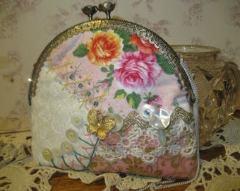 Spring Magic Handmade Purse OOAK Crazy Quilt Art Bag Gypsy Princess Bride Boho Woodland Wedding Vintage Lace Buttons Butterfly's Jewels Soft