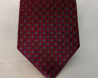 YVES SAINT LAURENT Tie Vintage 100% Silk Geometric Burgundy Maroon Red Blue Gold  Made in U.S.A