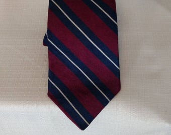 BERT PULITZER Tie All Silk Red Blue Burgundy Maroon Stripe Made in USA
