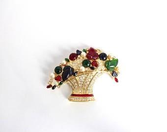 Nolan Miller Glamour Collection Fruit salad  Flower basket  Pin/Brooch #1679