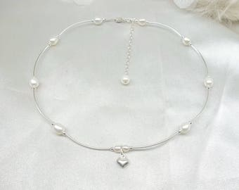 White Freshwater Pearl Necklace Wedding Necklace Heart Necklace Petite Cross Necklace Sterling Silver Pearl Necklace BuyAny3+1Free