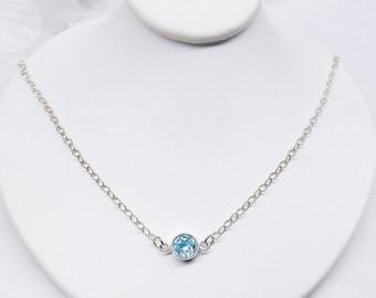 Genuine Aquamarine Necklace Sterling Silver Chain Necklace Bezel Set Aquamarine Adjustable Necklace 925 Sterling Silver BuyAny3+Get1 Free