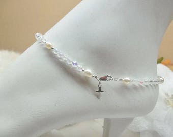 White Pearl Ankle Bracelet Cross Ankle Bracelet Clear AB Crystal Anklet 925 Sterling Silver Anklet Summer Ankle Jewelry BuyAny3+1Free