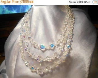 50% Off Sale Triple Strand Aurora Borealis Glass Beaded Vintage Choker Necklace