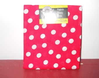 Red With White Polka Dots Cotton Fabric