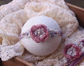 ready to ship newborn photography prop baby photo prop-beaded flower tieback headband with beads, mauve purple colored headband