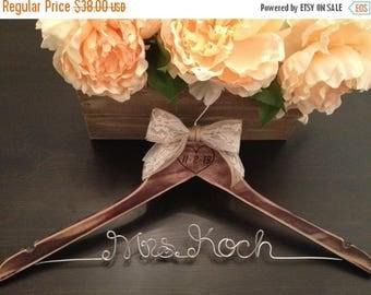 SUMMER SALE Rustic Bridal Hanger / Shabby Chic Wedding Hanger / Brides Hanger / Distressed Hanger / Rustic Wedding / Engraved Wedding Hanger