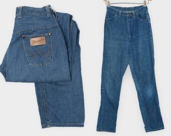 1950s Wrangler Misses High Waisted Sanforized Western Dark Denim Blue Jeans W 28