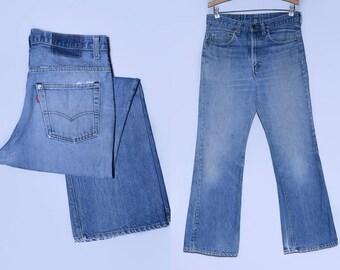 70s Levis 517 Black Bar Perfectly Distressed Indigo Denim Blue Jeans 33 x 31