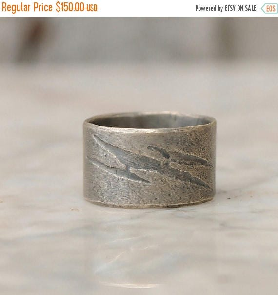 ON SALE Mens Wedding Band - Thick Silver Ring with Lightning Bolt - Sterling Silver