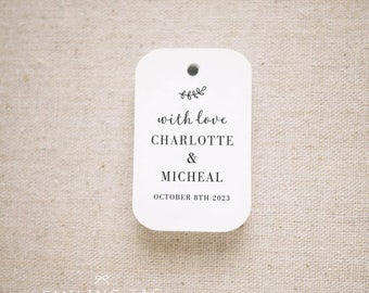 With Love Wedding Favor Tags, Personalized Gift Tags, Bridal Shower, Thank you tags, Party Tags, Favor Bag Tag, Set of 24 (Item code: J723)