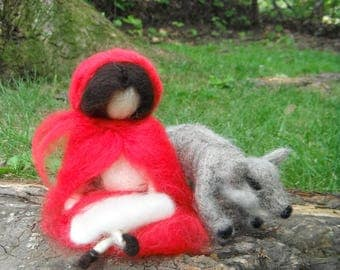 Needle Felted Doll - Little Red Riding Hood and Wolf - Waldorf Inspired