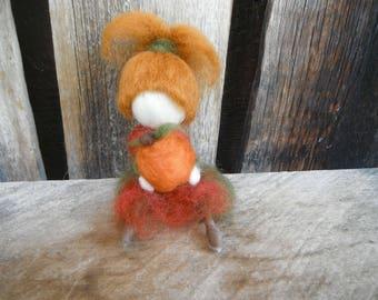 Needle Felted Doll - Autumn Doll - Pumpkin Girl
