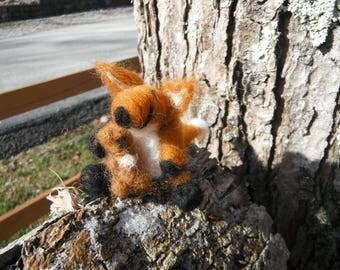 Handmade Needle Felted Fox and Teddy