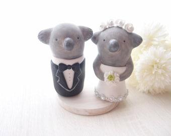 Custom Wedding Cake Toppers - Koala with base