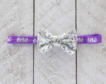 "First Birthday ""One"" Sequin Bow Headband in Purple and Silver - 1st Birthday - Cake Smash - Baby Girl - Birthday Gift - Purple Headband"