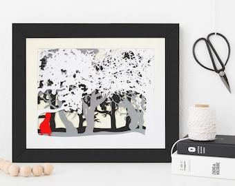 Little Red Cap Papercut Print • Little Red Riding Hood Paper Cut Print • Fairytale Wall Art