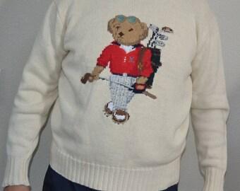 Vintage Ralph Lauren Polo Sport knit sweater Bear Golf 90 Jumper Cozy embroidered unisex Size L cotton linen GOLFER Golfing New wave hipster