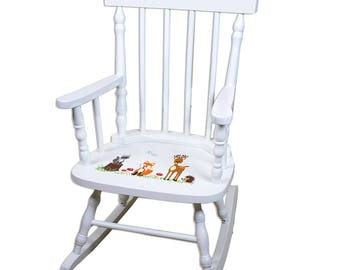 Personalized Coral Forest Animals White Childrens Rocking Chair Critters Deer Fox Owl Forest Woods Owls Racoon spin-whi-218b