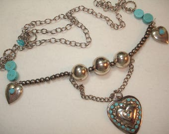 HEART Necklace - Upcycled Vintage Jewelry -Turquoise Blue and Silver Necklace with Hearts - Assemblage Jewelry - Silvertone Beaded Hearts