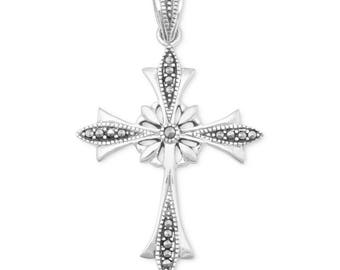 Sterling Silver Fancy Vintage Inspired Ornate Marcasite Cross Pendant