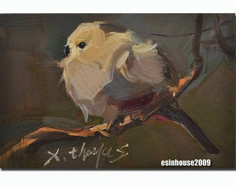 12cmx18cm Original Oil Painting Bird Pictures Robin Chickadee Animals wildlife Art