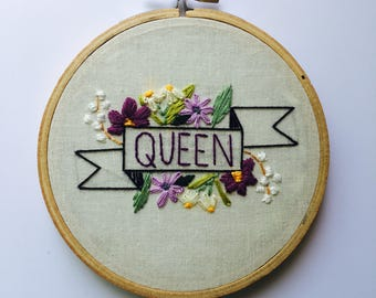 Queen Banner Embroidery Hoop Art Flower Embroidered