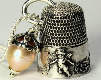 Peter Pan Necklace Antique Sterling Silver Thimble Peter Pan and Wendy Hidden Kisses With Cherub, Angels or Cupid Second Star Right