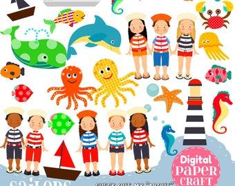 Sailor Clipart, Children Clipart, Fish Clipart, Ocean clipart, Outdoor clipart, Clipart,  Sea clipart, Nature Clipart, Dolphin Clipart