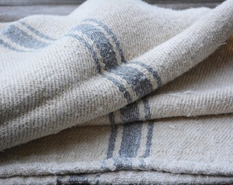 Homespun Linen Grain Sack with Blue Stripes, Vintage Farmhouse Style, Rustic Linen Fabric for Vintage Supplies