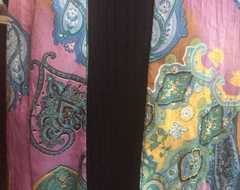 Fun and Lovely Purple Scarf with Teal & Turquoise Paisley Print plus Tiny Silver Sprinkles