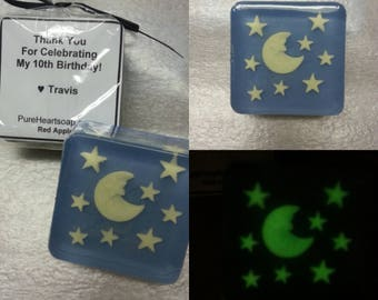 Glow in the Dark Soap Favors, 6 plus personalized labels, moon and stars, glycerin, kids party