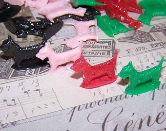 Kitsch, Scottish Terrier, Scotty Dog, Scotties, Plastic, Dog, Set of 4, Game Tokens, Standing Dogs, Game Pieces, Red, Black, Green, Pink
