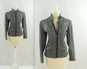 SALE Vintage 1980s Womens Leather Motorcyle Jacket in Grey - Small by Angora