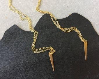 on Sale. VEGA necklace, brass jewelry, tiny spike, cosmic lunar astronomy, Humane Society donation