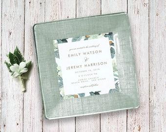 invitation keepsake for couples - unique wedding gift idea - invitation plate - decoupage plate - 1st anniversary gift
