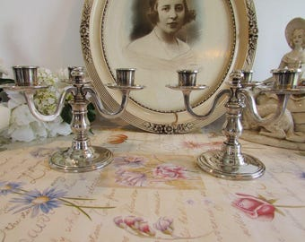 Stunning French pair of superb quality silver plate candle holders / candelabras.  Prestigious mark Ercuis.