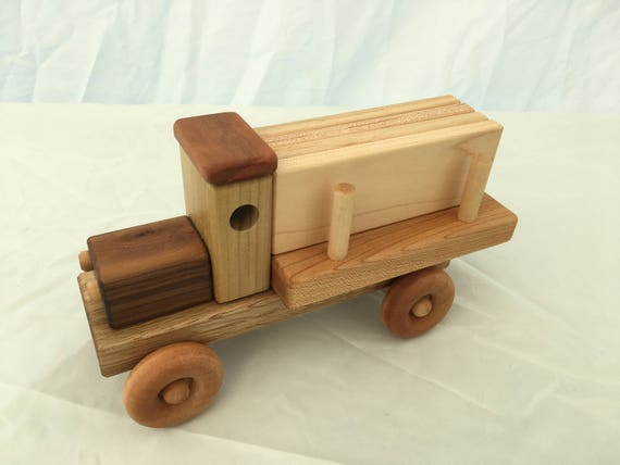 Lumber truck with wooden planks