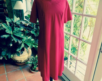 Vintage Femme of Dallas dress 1960's, slightly flared silhouette cranberry polyester knit: large