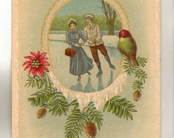 Vintage Christmas Postcard, Couple Ice Skating, Snow Border, 1912