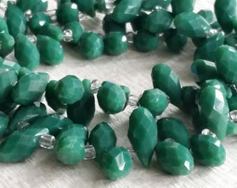 6 x 12 mm 48 Faceted Cut Tear Drop Shape Malachite Green Glass / Crystal / Lampwork Beads (.ss)