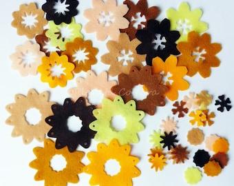 Felt flower, felt shapes, felt flower for bouquets, brooches, crafts, hair ribbons. Felt supplies for headbands, die cut, pre cut felt, felt