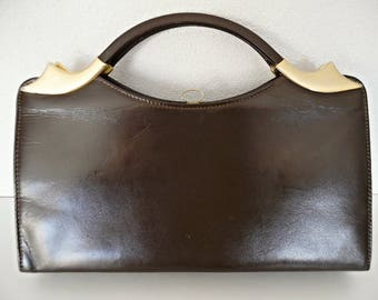 SALE :)) ART DECO Allure . Golden Buckles Genuine Leather Bag Handbag Chocolate Brown 40s