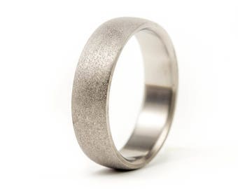 Men's sandblasted titanium ring. Unique and modern wedding band. Water resistant, very durable and hypoallergenic (00011_7N)
