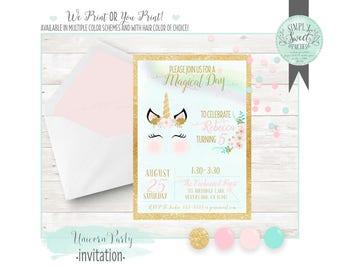 Unicorn INVITATION Birthday Party 5x7 invite. Gold glitter pink accent mint watercolor background Unicorn We-print OR you-print pdf JPEG