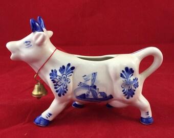 Antique Delft Cow Creamer Holland windmill flowers blue porcelain figurine coffee tea sugar milk blue cow bell vintage cottage chic Victoria