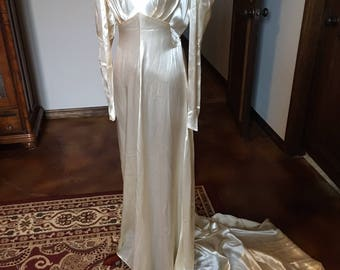 RESERVED 4 ANN  1930s Silk Satin Wedding Gown